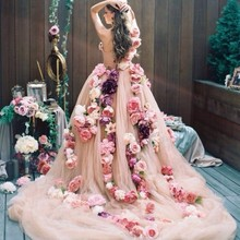 Amazing One Shoulder Flowes Floral Decoration Evening Dresses Champagne Tulle Ball Gown Prom Dress Formal Party Dress Vestidos(China (Mainland))