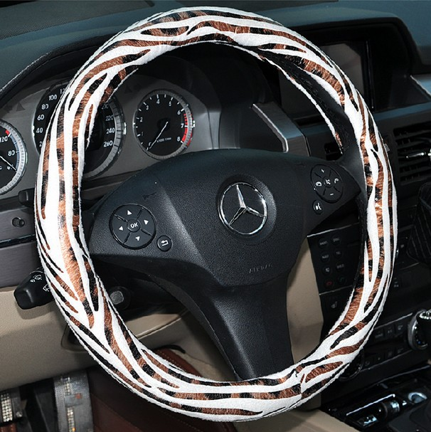 Auto Car Steering Wheel Cover Zebra Velvet Splice Diameter 15 inch 38CM - White(China (Mainland))