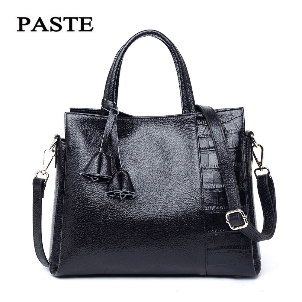 2017 Cow Genuine Leather Black Totes Bags Women Leather Handbags Brand Name Paste China Famous Purses Bags Fashion Design PT1272(China (Mainland))