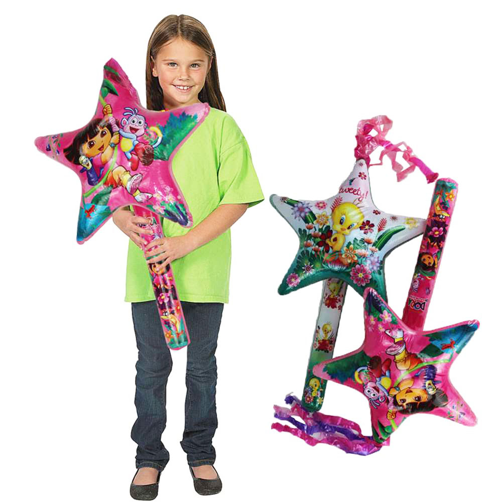 2 PCS/ Set Inflatable Cartoon Star Balloon Toys Children PVC Inflated Toys Kids Birthday Party Favors Stage Props Cheer Clappers(China (Mainland))