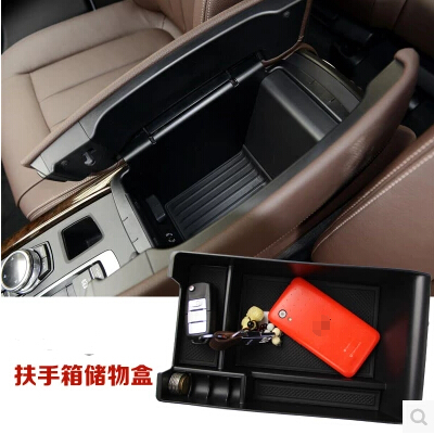 Car Armrest Box Central Secondary Storage Glove Box Center Console Coin Cell Phone Holder Container For BMW X5 X4 X3 GT F25 F15(China (Mainland))
