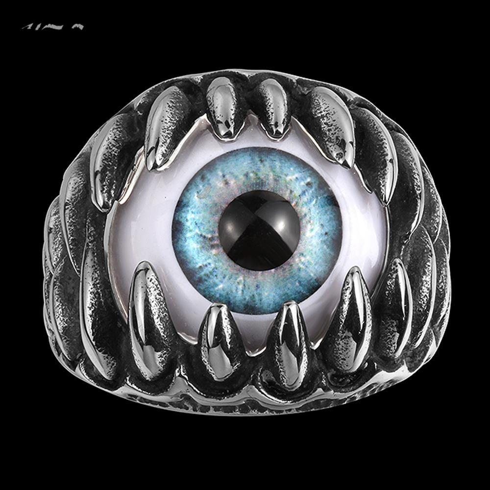 European vintage brand exaggerated personality fangs and eyeball Men's Punk rock style titanium steel rings free shipping(China (Mainland))