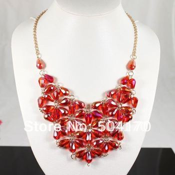 Fashion American Style Teardrop Crystal Cabochons Bubble Necklace Chunky Bib Necklace 5pcs/lot Wholesale BN032
