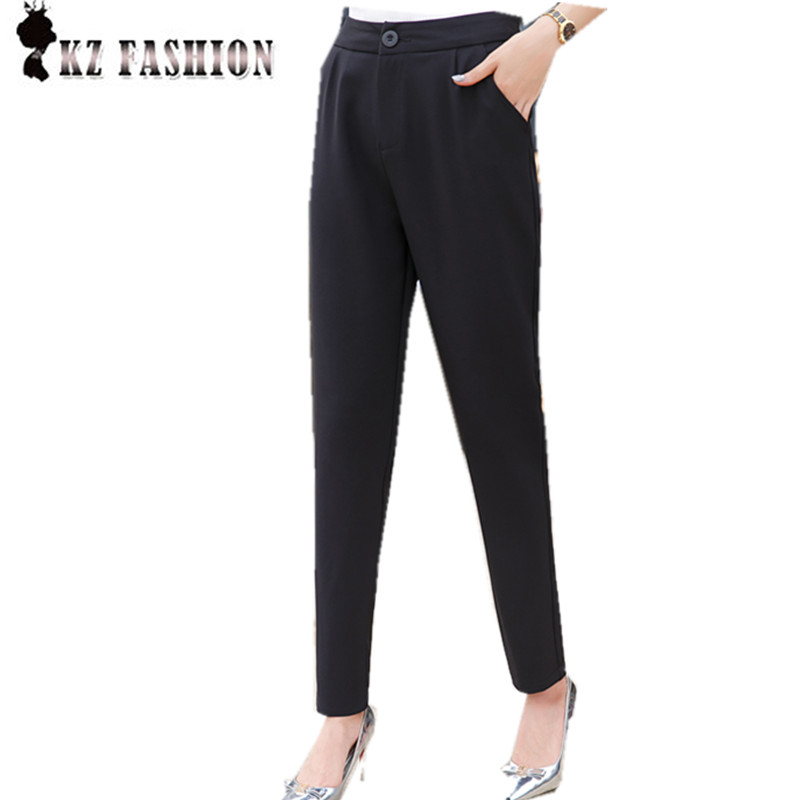 Fashion Spring Autumn Black Mid Waist Pencil Pant One Button Double Pockets Decoration Bottom for Women B67501H(China (Mainland))