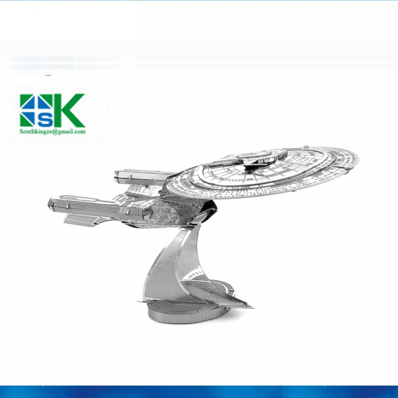 2016 New Arrival Star Trek USS ENTERPRISE 1701-D 3D metal puzzle model 2 Sheets Wholesale price Stainless steel DIY free shippin(China (Mainland))