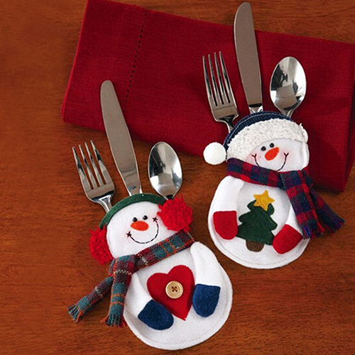 2015 High Quality 2Pcs Snowman Silverware Holder Pocket Christmas Home Decor Smile Cutlery Pouch