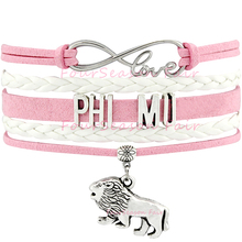 Buy Custom-Infinity Love Phi Mu Lion Charm Multilayer Bracelet Wax Cord leather Wrap Braided Bangles Adjustable-Drop for $1.49 in AliExpress store