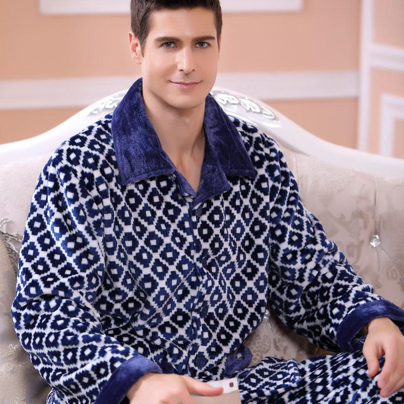 2016 European & American Style Men Winter Keep Thermal Anti Cold Coral Fleece Pajamas sets of Sleepcoat & Pants Adult Sleepwear(China (Mainland))