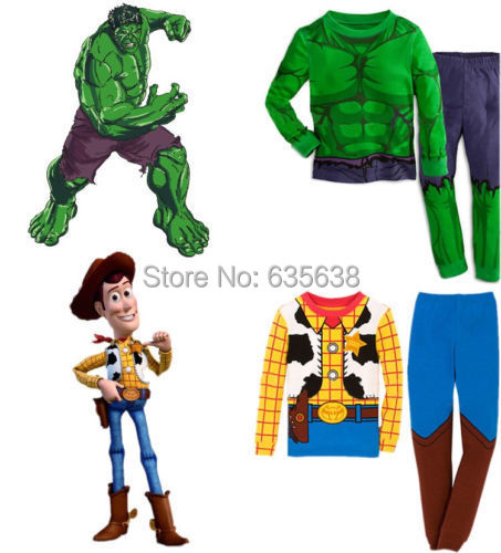 Fashion Hot The Hulk Toy Story Sheriff Woody Baby kids Boys Nightwear Sleepwear Pyjamas suits(China (Mainland))