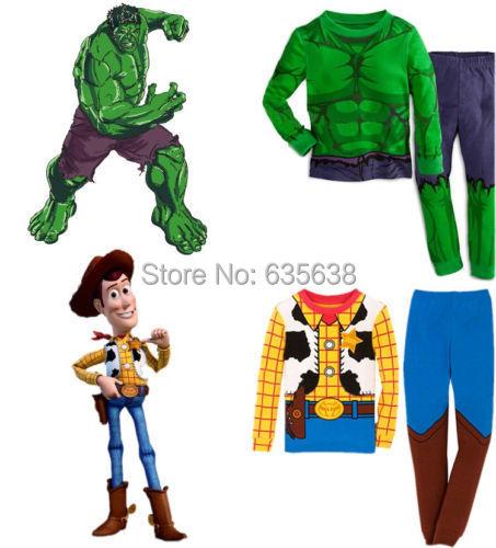 Fashion Hot The Hulk Toy Story Sheriff Woody Baby kids Boys Nightwear Sleepwear Pyjamas suits(China (Mainland))