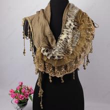 Plush Faux Fur Floral Lace Ruffle Trim Tassel Stitching Triangle Scarf Shawl