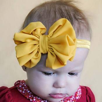 2016 Kids Baby Girls Satin Flower Big Bow Hairband Elastic Headband Stretch Turban Knot Head Wrap Floral Hair Band Accessories