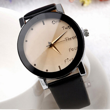 Fashion Leisure Dress Watch Women Wholesale PU Leather Quartz Watch Big Cute Dial Girls Stylish Letter