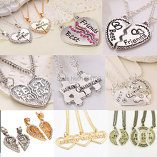 New Hot Heart Broken Style 2-Piece And 3 Parts Pendant Necklace Best Friend Forever Necklace Jewelry Gift For Girl(China (Mainland))