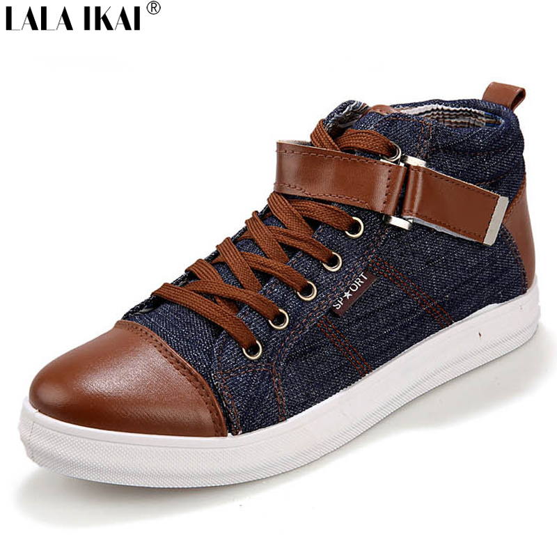 2016 Men Canvas Shoes Men High Top Lace Up Front Men Casual Shoes Breathable Mens Footwear with Buckle Zapatos hombre XMA0158-5(China (Mainland))