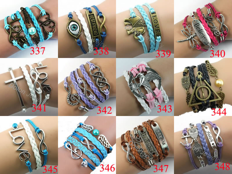 Punk Leather Multilayer Rope Cross Owl Infinity Braided Friendship Heart Love Bracelets Bangles Pulsera Wrist Bands For Women(China (Mainland))