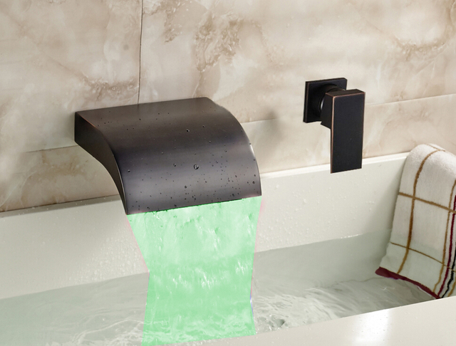 oil rubbed bronze led waterfall bathroom tub faucet single handle