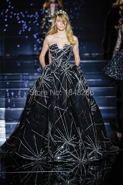 ph15940 zuhair murad couture 2015 Meteor black tulle ball gown with silver shooting star embroidery evening gown(China (Mainland))