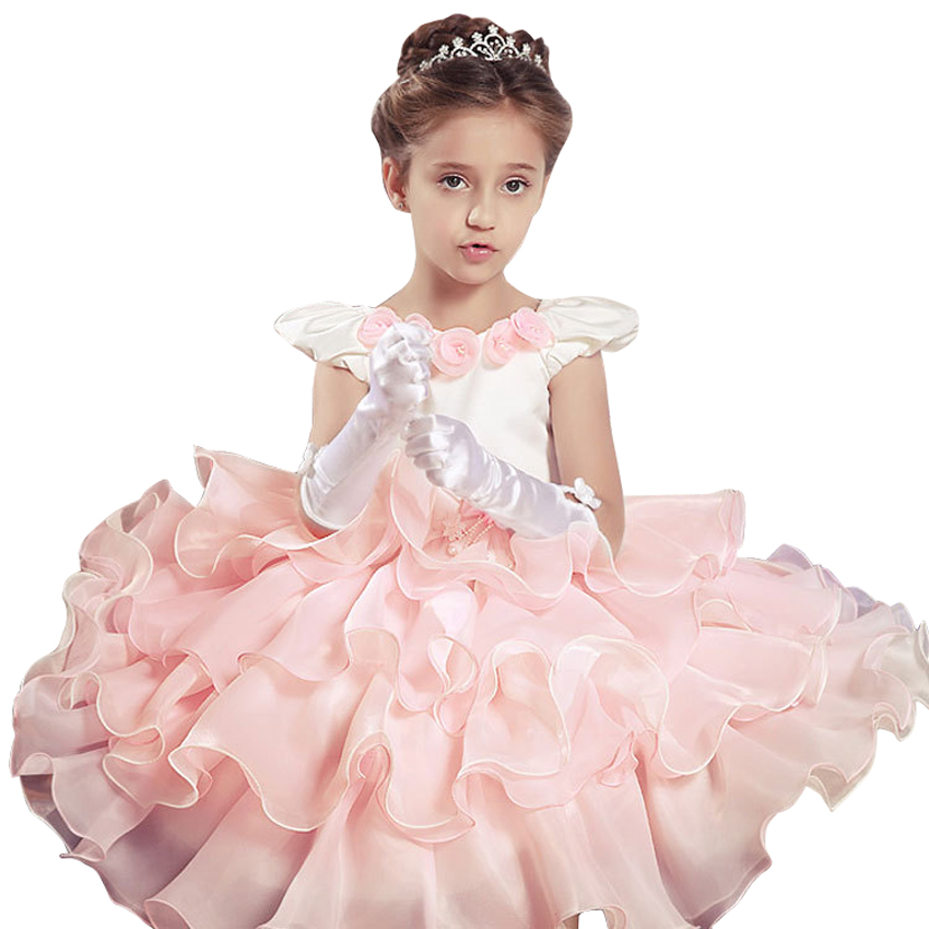 2016 Europe Flowers Dresses For Girls Ruffles Princess Party Dresses Lolita Childrens Tutu Girl Dress Fly Sleeve Kids Clothes<br><br>Aliexpress