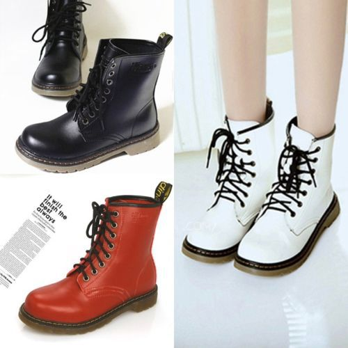 New Arrival European Women Lace Up Mid Calf Martin Boots Combat Punk Ankle Boots H2121(China (Mainland))