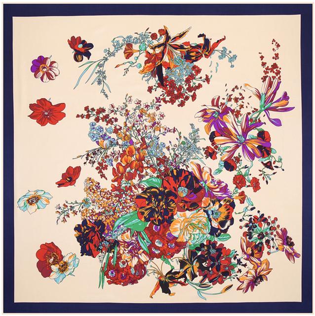 100 см * 100 см 100% саржевые шелковый евро марка спринг-роуз цветы печать женщины косынка Femal мусульманский платок шаль B113