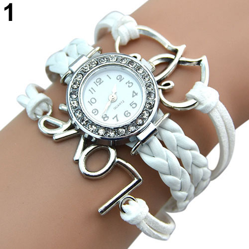 2016 Popular Designed Girl's Faux Leather Love Heart Charm Rhinestone Knitting Bracelet Watch NO181 5UX6(China (Mainland))