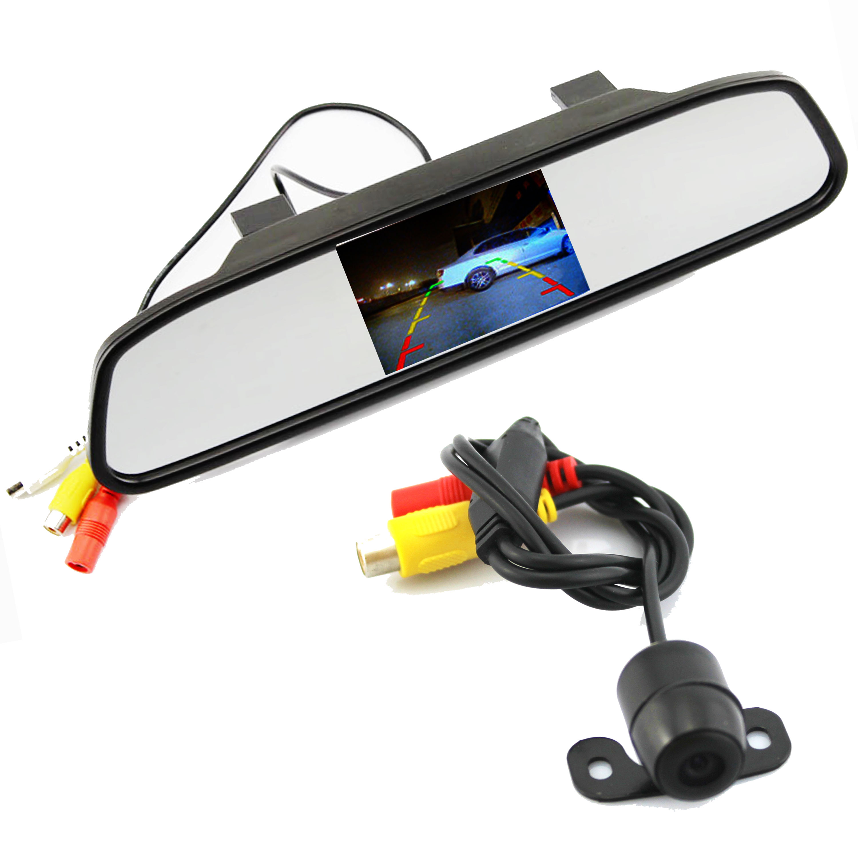 Parking Assistance System 2 in 1 4.3 Digital TFT LCD Mirror Auto Car Parking Monitor + 170 Degrees Mini Car Rear view Camera(China (Mainland))