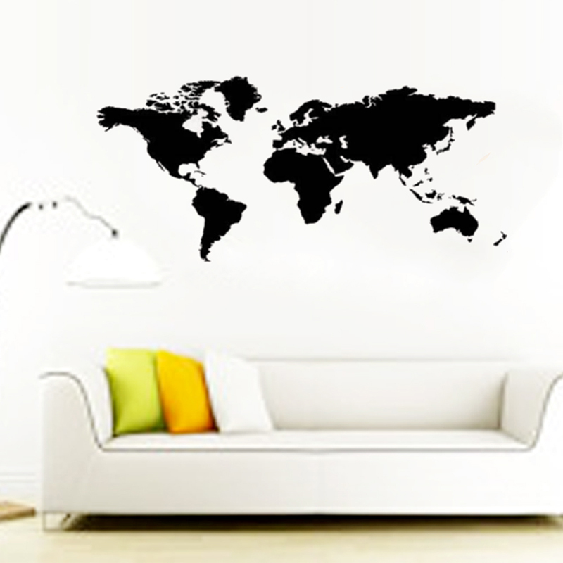 two size -hot world map wall stickers office living room decorations 8278. diy vinyl adesivo de paredes home decals mual art 3.0(China (Mainland))