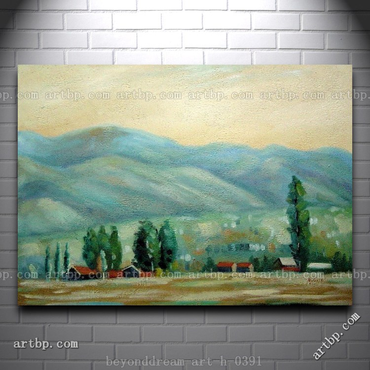 Village under the mountain oil painting impressionism for 18x27 window