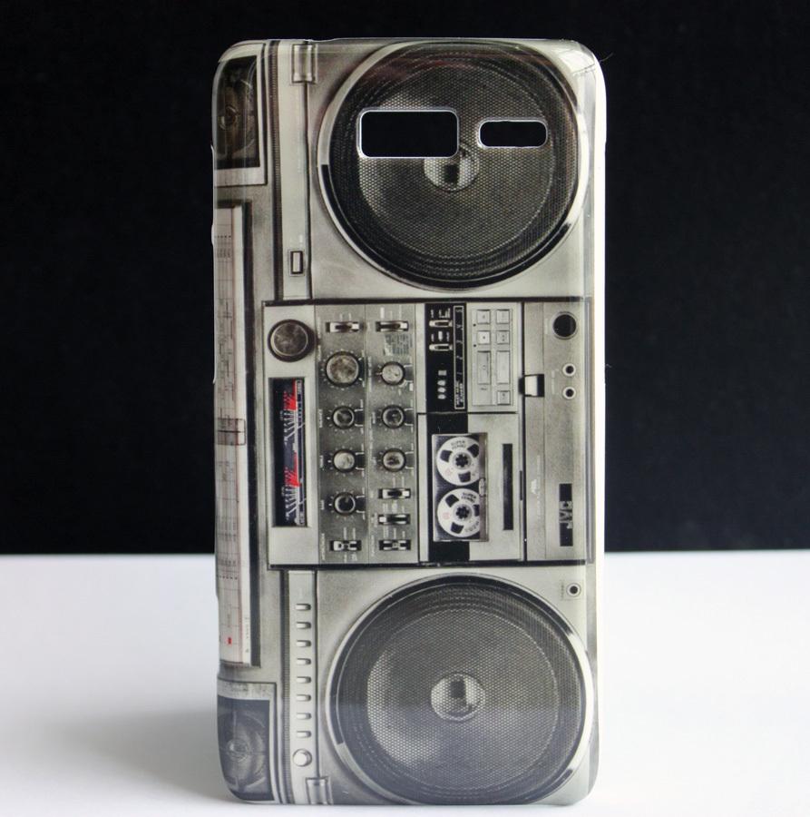 OLD RADIO CASSETTE PLAYER HARD SKIN COVER CASE FOR Motorola RAZR i XT890 New(China (Mainland))