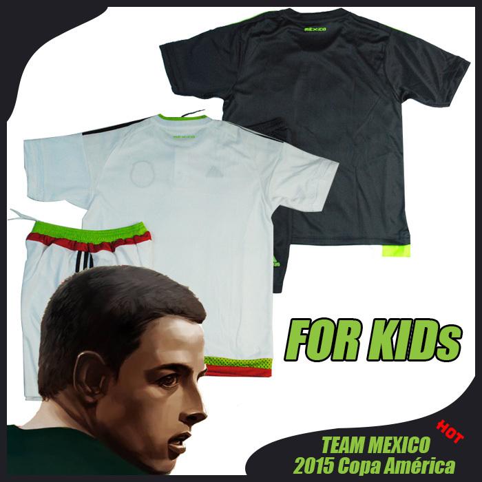 Mexico Soccer Jersey Kids 2015 Mexico Children Kids Uniform Black White 15 16 G.Dos Santos Baby Boys CHICHARITO Youth Kit Sets(China (Mainland))