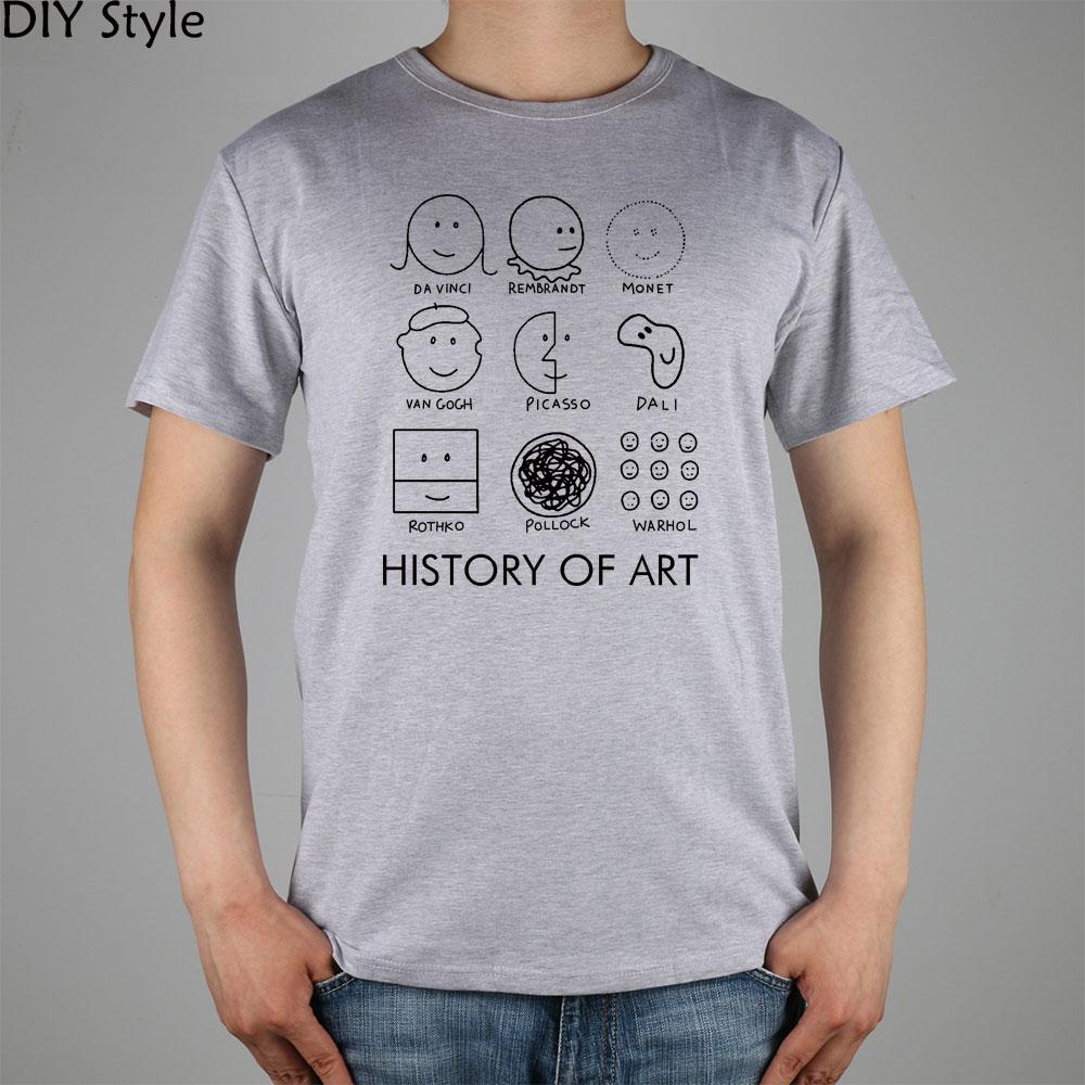 Picasso, Monet, Da Vinci Art History T-shirt cotton Lycra top 11073 Fashion Brand t shirt men new DIY Style high quality(China (Mainland))