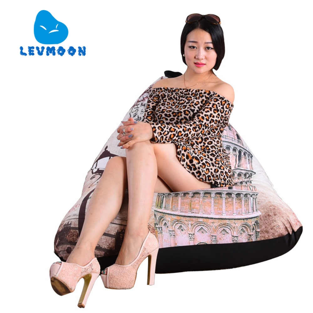 Levmoon Beanbag Sofa Chair Leaning Tower Of Pisa Seat Zac Bean Bag Bed Cover Without Filling Indoor Beanbags Modern Sofa Couch(China (Mainland))