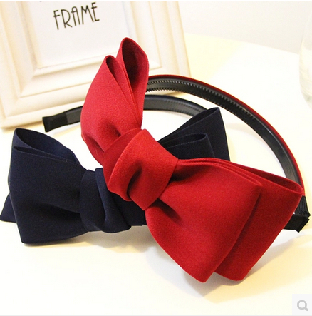 2015 Fashion Cute Sweet Style Cotton Bowknot Hair Band Hair Hoop Bow Tie Headband Accessory For Free Shipping(China (Mainland))