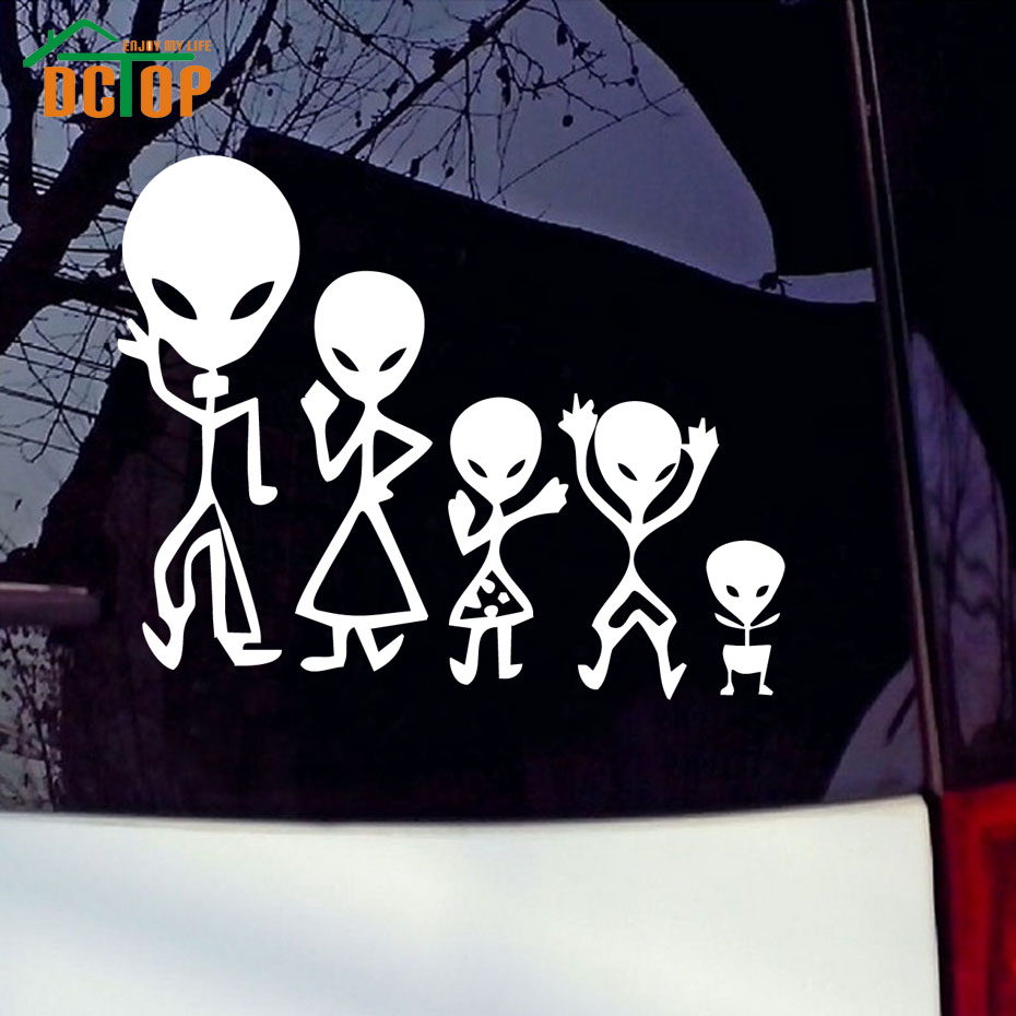 Alien Family Car Stickers Images Decorative Vinyl Adhesive Decals Funny Car Styling Cartoon Stickers(China (Mainland))