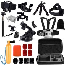 Gopro accessories set kit mount Helmet Harness Chest for go pro hero 4 3+ 2 sj4000 sj5000 camera case xiaoyi Black Edition GS26