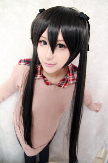 Здесь можно купить  Wholesale New style 100cm Long K-ON-Nakano Azusa Black Anime Cosplay Costume Wig  Волосы и аксессуары