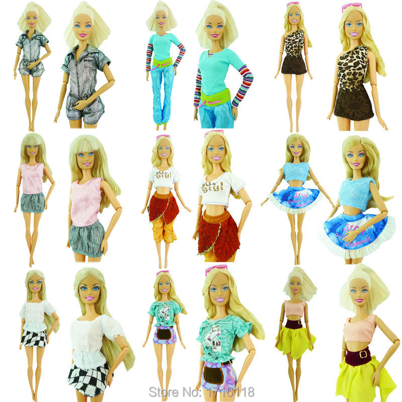 Randomly Decide 20 Pcs = 10 Footwear +10 Units Trend Outfit Trousers Costume Shorts Pants Skirt Garments For Barbie Doll Equipment 03