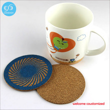 2016 Newest kitchen table decoration accessories insulation mat round cork coasters from Guangzhou