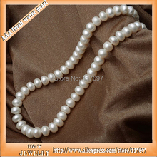 46cm H&Y brand 8.5-9.5mm100% genuine natural freshwater pearl beads necklace with Super Deluxe pearl jewelry box(China (Mainland))