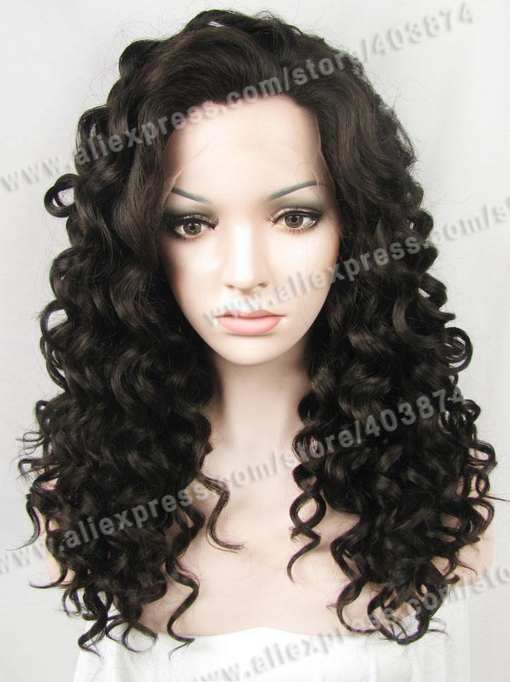 Retail/Wholesale Promotion N3-4 20inch/50cm Fashion Deep Wavy Dark Brown Color Synthetic Lace Front Wig<br><br>Aliexpress