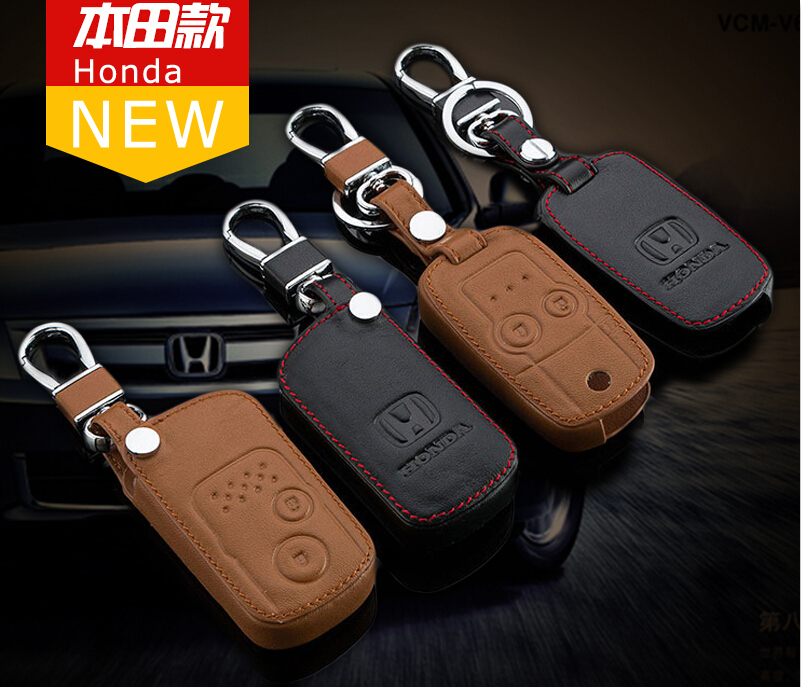 2014 New Genuine Leather Auto Car Key Case Cover Smart/Folding Remote Alloy Key Rings Car Keychains Fits for Honda Crosstour CRV(China (Mainland))