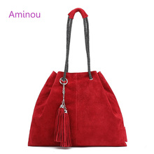 Buy Aminou 2017 Famous Women Tote Bag Lady Casual 100% Genuine Leather Bags Women Crossbody Tassel Bucket Handbag Shoulder Bags for $28.46 in AliExpress store