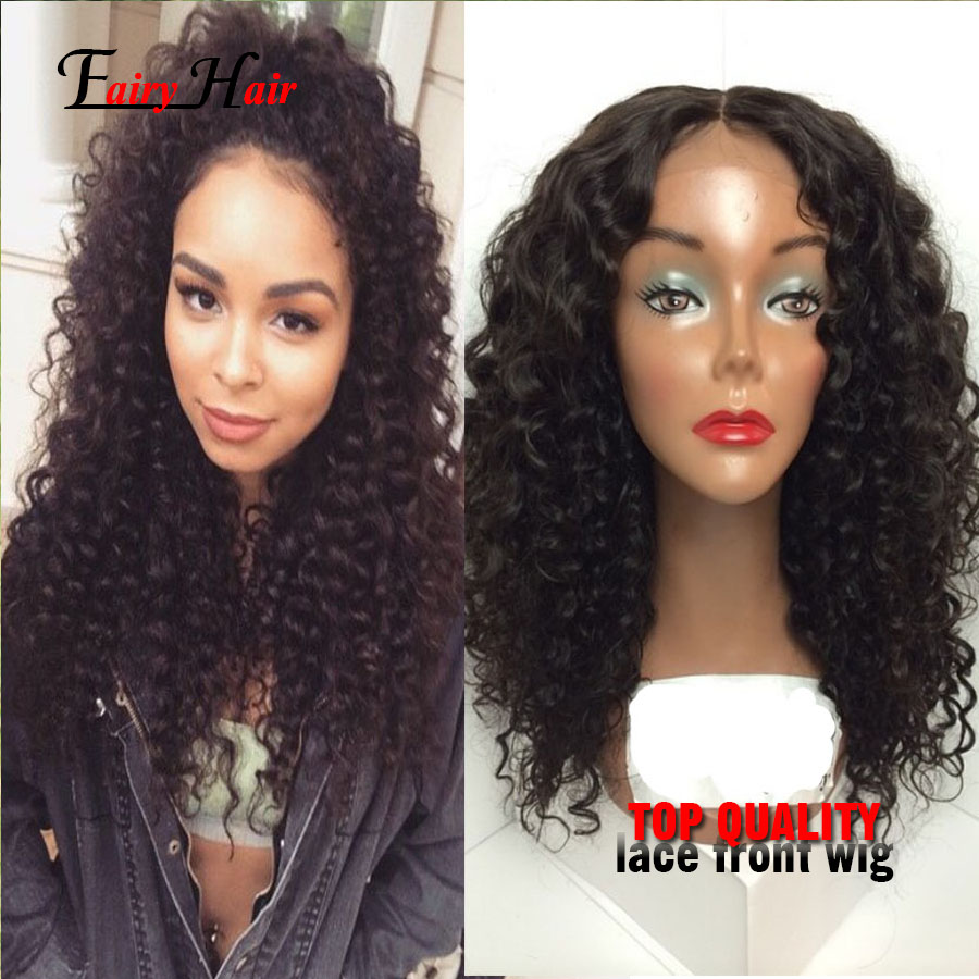 heat resistant synthetic Kinky curly lace front wigs natural hairline with #1b synthetic wigs with baby hair for black women<br><br>Aliexpress