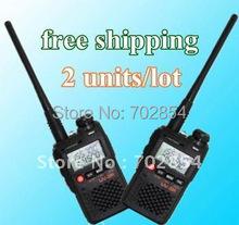 Dual band dual display walkie talkie mini pocket two way radio ZASTONE brand UV-3R II 2units/lot free shipping free earphone