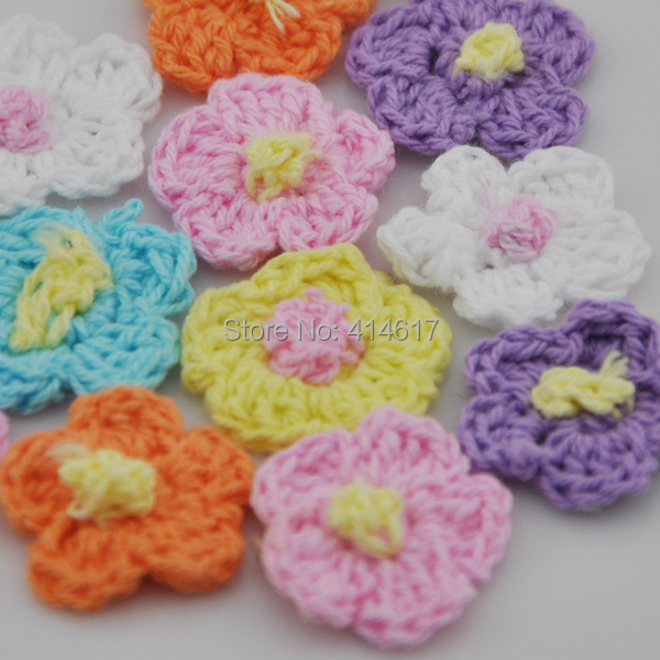 200pcs Crochet sunflower sewing appliques DIY Wedding Party Sewing Decoration A0138(China (Mainland))