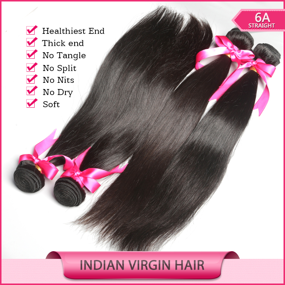 6A Quality Virgin Hair Indian Virgin Hair Straight Unprocessed Human Hair 2 Pcs lot Indian Straight Hair Cheap Wholesale(China (Mainland))
