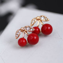 Fashion Korean Cute Red Cherry Leaf Beads Rhinestone Lovely Ear Stud Earrings jewelry Earrings for women Gift Free shipping(China (Mainland))