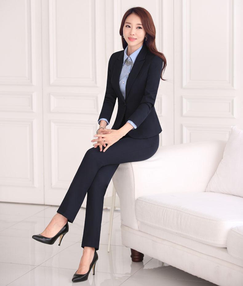 Formal Office Ladies Work Wear Uniform Style 2 Piece Pants Suits New 2015 Women Autumn Winter ...