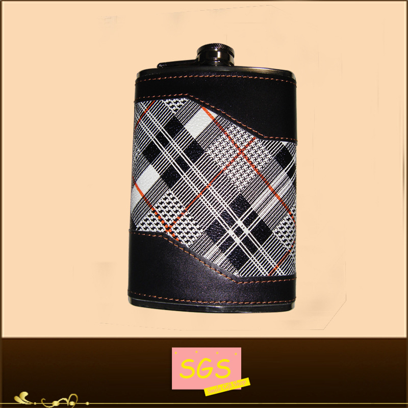 Brand New 7oz Stainless Steel Leather Screw Down Cap Wrap Liquor Alcohol Hip Pocket Flask(China (Mainland))